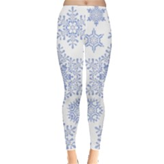 Snowflakes Blue White Cool Leggings  by Mariart
