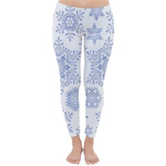 Snowflakes Blue White Cool Classic Winter Leggings by Mariart