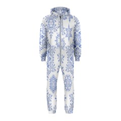 Snowflakes Blue White Cool Hooded Jumpsuit (kids)