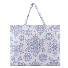 Snowflakes Blue White Cool Zipper Large Tote Bag by Mariart