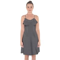 Space Line Grey Black Ruffle Detail Chiffon Dress