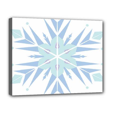 Snowflakes Star Blue Triangle Canvas 14  X 11  by Mariart