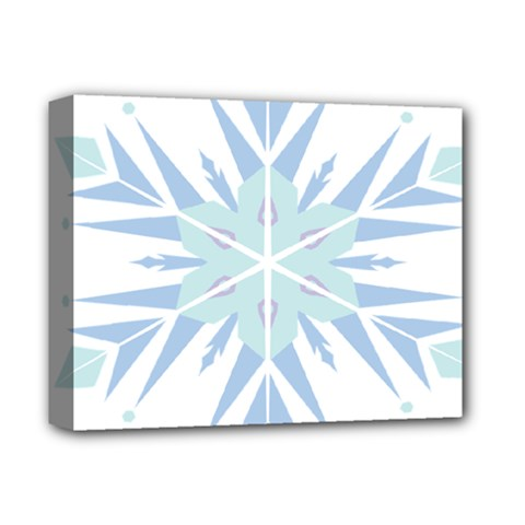 Snowflakes Star Blue Triangle Deluxe Canvas 14  X 11  by Mariart