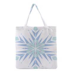 Snowflakes Star Blue Triangle Grocery Tote Bag by Mariart