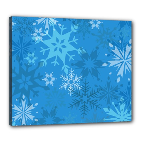 Snowflakes Cool Blue Star Canvas 24  X 20  by Mariart
