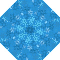 Snowflakes Cool Blue Star Hook Handle Umbrellas (large) by Mariart