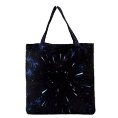 Space Warp Speed Hyperspace Through Starfield Nebula Space Star Line Light Hole Grocery Tote Bag by Mariart