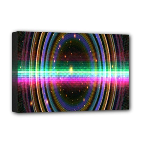 Spectrum Space Line Rainbow Hole Deluxe Canvas 18  X 12   by Mariart