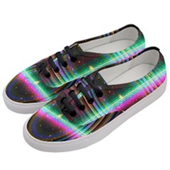 Spectrum Space Line Rainbow Hole Women s Classic Low Top Sneakers by Mariart