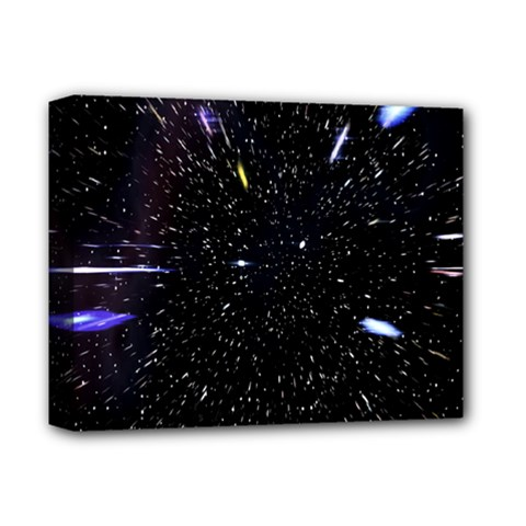Space Warp Speed Hyperspace Through Starfield Nebula Space Star Hole Galaxy Deluxe Canvas 14  X 11  by Mariart