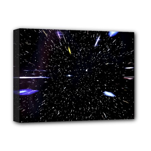 Space Warp Speed Hyperspace Through Starfield Nebula Space Star Hole Galaxy Deluxe Canvas 16  X 12   by Mariart
