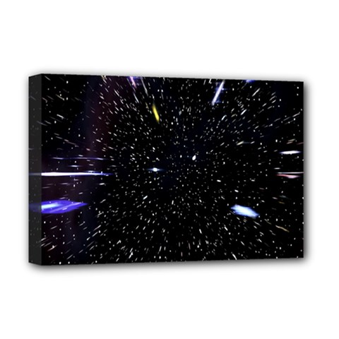 Space Warp Speed Hyperspace Through Starfield Nebula Space Star Hole Galaxy Deluxe Canvas 18  X 12   by Mariart