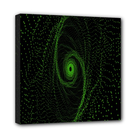 Space Green Hypnotizing Tunnel Animation Hole Polka Green Mini Canvas 8  X 8  by Mariart