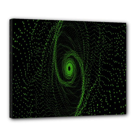 Space Green Hypnotizing Tunnel Animation Hole Polka Green Canvas 20  X 16  by Mariart