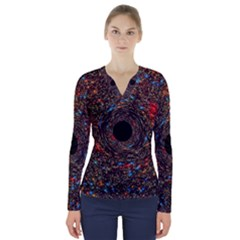 Space Star Light Black Hole V Neck Long Sleeve Top