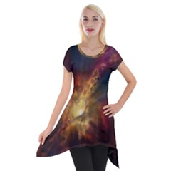 Sun Light Galaxy Short Sleeve Side Drop Tunic by Mariart