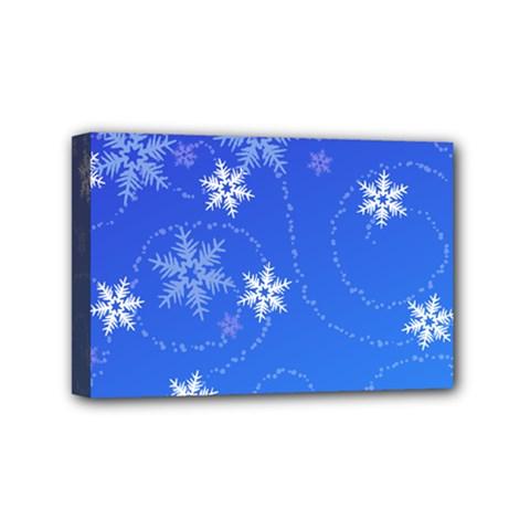 Winter Blue Snowflakes Rain Cool Mini Canvas 6  X 4  by Mariart