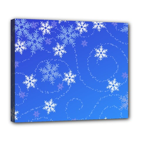 Winter Blue Snowflakes Rain Cool Deluxe Canvas 24  X 20   by Mariart