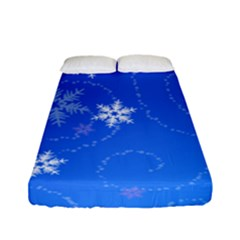 Winter Blue Snowflakes Rain Cool Fitted Sheet (full/ Double Size) by Mariart