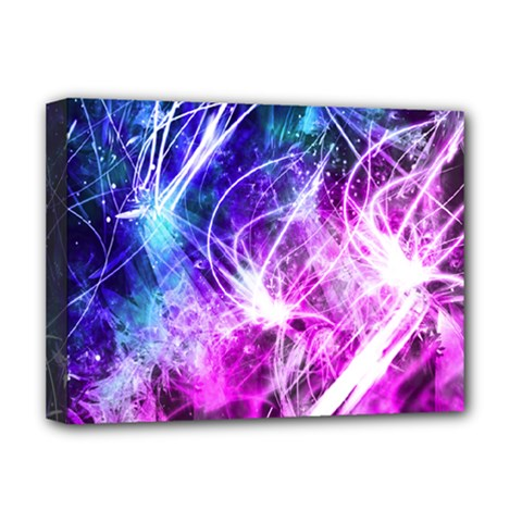Space Galaxy Purple Blue Deluxe Canvas 16  X 12   by Mariart