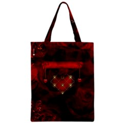Wonderful Elegant Decoative Heart With Flowers On The Background Zipper Classic Tote Bag by FantasyWorld7