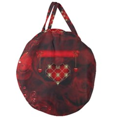 Wonderful Elegant Decoative Heart With Flowers On The Background Giant Round Zipper Tote