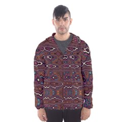Hippy Boho Chestnut Warped Pattern Hooded Wind Breaker (men) by KirstenStar