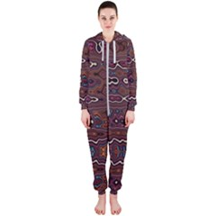 Hippy Boho Chestnut Warped Pattern Hooded Jumpsuit (ladies)  by KirstenStar