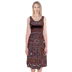 Hippy Boho Chestnut Warped Pattern Midi Sleeveless Dress by KirstenStar