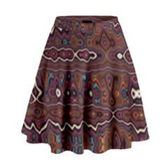 Hippy Boho Chestnut Warped Pattern High Waist Skirt by KirstenStar