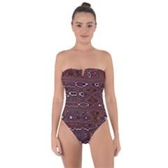 Hippy Boho Chestnut Warped Pattern Tie Back One Piece Swimsuit by KirstenStar