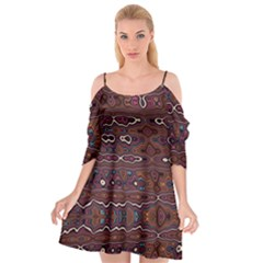 Hippy Boho Chestnut Warped Pattern Cutout Spaghetti Strap Chiffon Dress by KirstenStar