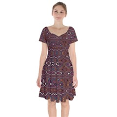 Hippy Boho Chestnut Warped Pattern Short Sleeve Bardot Dress by KirstenStar