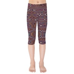 Hippy Boho Chestnut Warped Pattern Kids  Capri Leggings  by KirstenStar