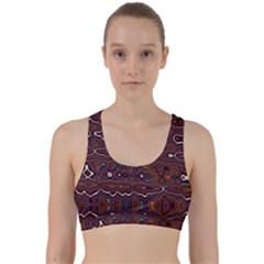 Hippy Boho Chestnut Warped Pattern Back Weave Sports Bra by KirstenStar