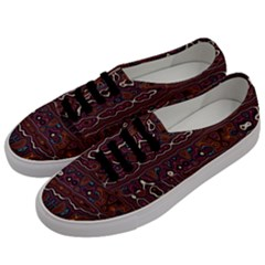 Hippy Boho Chestnut Warped Pattern Men s Classic Low Top Sneakers by KirstenStar
