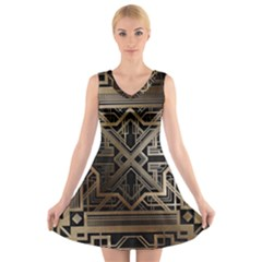 Art Nouveau V Neck Sleeveless Skater Dress