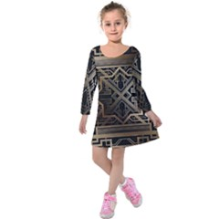 Art Nouveau Kids  Long Sleeve Velvet Dress