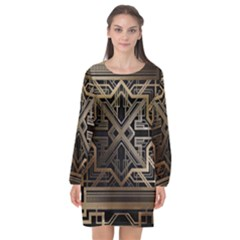 Art Nouveau Long Sleeve Chiffon Shift Dress
