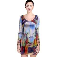 Abstract Tunnel Long Sleeve Bodycon Dress by 8fugoso
