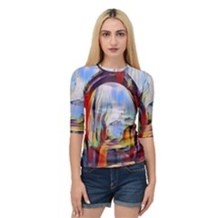 Abstract Tunnel Quarter Sleeve Raglan Tee