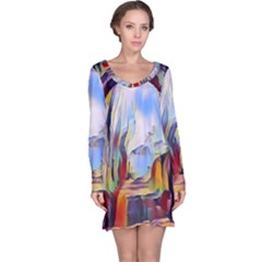 Abstract Tunnel Long Sleeve Nightdress