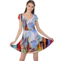 Abstract Tunnel Cap Sleeve Dress