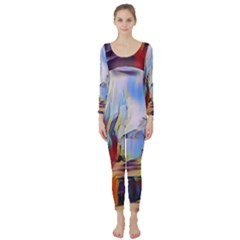 Abstract Tunnel Long Sleeve Catsuit
