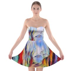 Abstract Tunnel Strapless Bra Top Dress