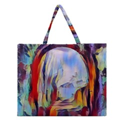 Abstract Tunnel Zipper Large Tote Bag