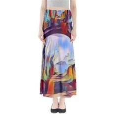 Abstract Tunnel Full Length Maxi Skirt