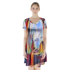 Abstract Tunnel Short Sleeve V Neck Flare Dress