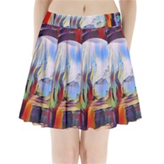 Abstract Tunnel Pleated Mini Skirt