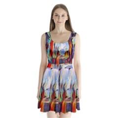 Abstract Tunnel Split Back Mini Dress